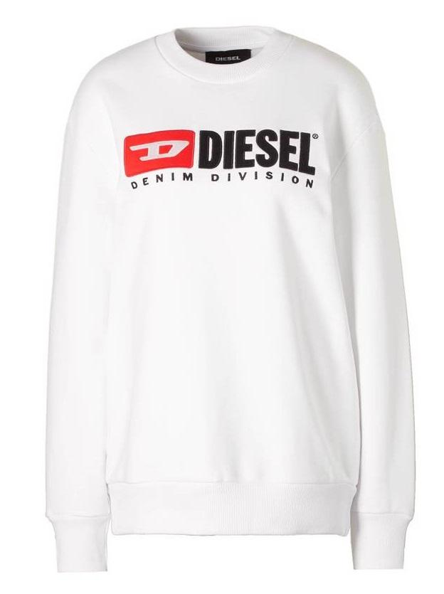 Pánská mikina Diesel F crew Divosion Fl bílá  87c6f5aeeb