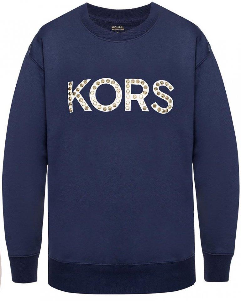 a8e08a1407 Dámská mikina Michael Kors Stud Logo Sweatshirt True Navy modrá ...